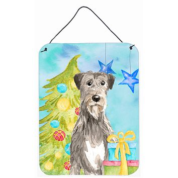 Christmas Tree Irish Wolfhound Wall or Door Hanging Prints CK1876DS1216