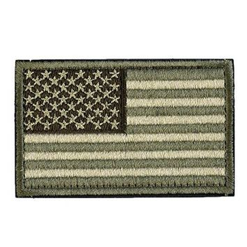 "Backwoods Barnaby USA Tactical Morale American Flag Patch with Velcro for Operator Hats, Backpacks, and Military Uniforms (Olive Drab Green Multicam, 2"" x 3"")"