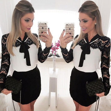 Womens Fashion Long Sleeve Black&white Lace Patchwork Casual Party Bodycon Mini Dress = 1956743300