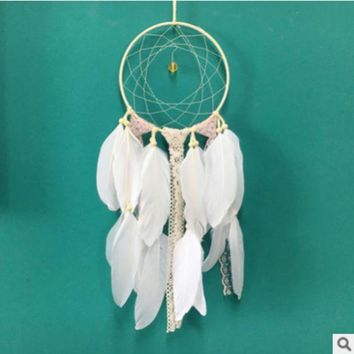 DCCKHC3 Creative white dream catcher feather ornaments Home decoration hanging DIY material pack handmade