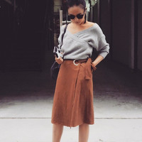 Soft Suede Camel Midi Skirt with Belt