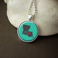Louisiana State Necklace, Love Louisiana Pendant, US State Pendant Necklace Jewelry
