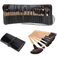 Abody® Wood 32Pcs Makeup Brushes Kit Professional Cosmetic Make Up Set + Pouch Bag Case