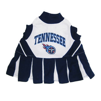 Mirage Pet Products Puppy Dog Cat Costume Tennessee Titans Sports Team Logo Cheer Leading Uniform SM