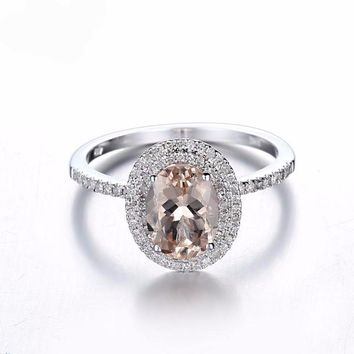 Oval Morganite Halo Ring with Diamond Accents Solid 10K White Gold