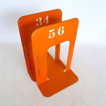 VINTAGE shabby orange INDUSTRIAL BOOKENDS by orangedoorvintage