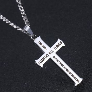 "Philippians 4:13 Jewelry ""I Can Do All Things"" Cross Pendant Necklace Bible Verse With Chain"