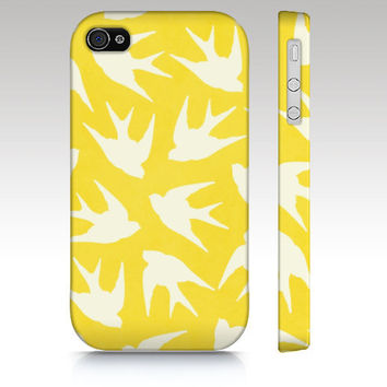 Iphone case, iPhone 4s case, iPhone5 case, iPhone4 case, hipster, illustration, yellow birds pattern, pink, mint, green, aqua