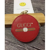 GUCCI New Popular Round Leather Zipper Key Pouch Wallet Coin Purse(5-Color) Red I-MYJSY-BB
