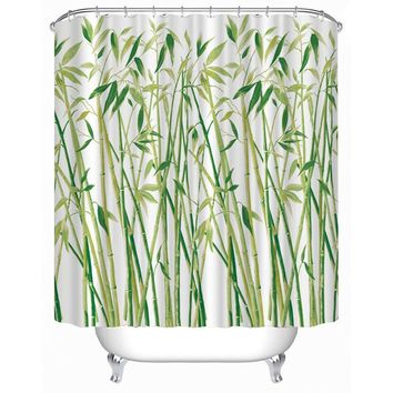 New Shower Curtain 3D Small Bamboo Printed Bathroom Curtains 180x180cm Waterproof Polyester Bathroom Products Beautiful Cover