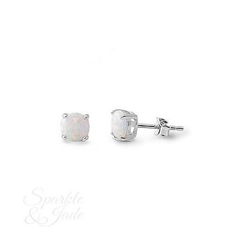 5mm Round Created Opal Sterling Silver Earrings - White - S&J