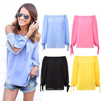 Kaywide Sexy off shoulder chiffon blouse shirt Girls loose summer blouse Slash Neck Women tops long sleeve autumn hollow blusas
