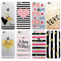 Hot Pink Stripe Heart Bow Knot Flamingo Love Soft TPU Case Cover Coque Fundas For iPhone 7Plus 7 6 6S 6Plus 5 5S SE 5C 4 4S
