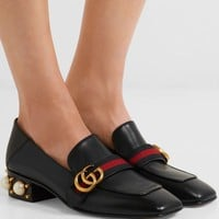 GUCCI Marmont logo and faux pearl-embellished leather collapsible-heel pumps
