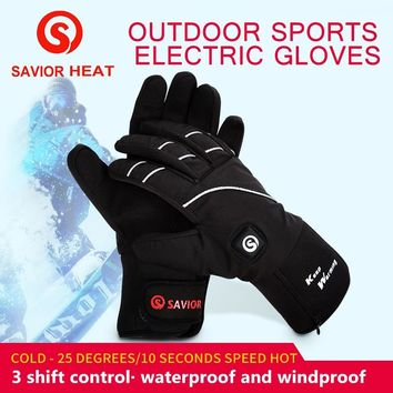 Savior heated glove night cycling biking riding outdoor sports Reflector waterproof windproof keep warm 3 levels control SHGS21B