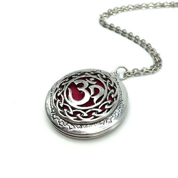 Exclusive Design Antique Silver Moola Mantra Pendant Celti Locket Diffuser Necklace Essential Oil Locket  Yoga Jewelry