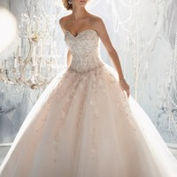 Mori Lee 1970 Beaded Ball Gown Wedding Dress