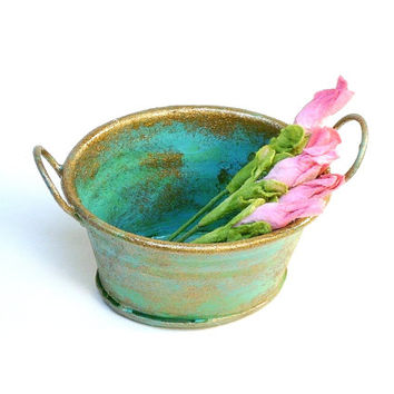 Miniature Rusty Weathered Metal Pail with Pink Flowers Dollhouse Fairy Garden Accessory