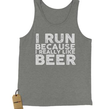 I Run Because I Like Beer Jersey Tank Top for Men