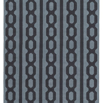 Cable Links Black and Denim Rug