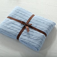 Knitted Blanket - Blue