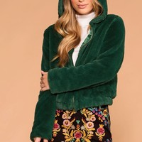 Cuddle Bug Hunter Faux Fur Bomber Jacket