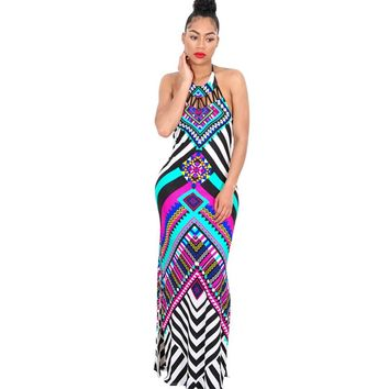 2017 New Summer Plaid Maxi Dress Women Dashiki Sexy Backless Print Long African Dress Party Bodycon Bohemian Beach Dresses