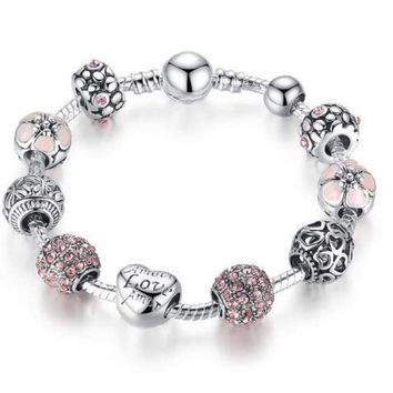 Antique Flower Crystal Ball Fashion Silver Bracelet