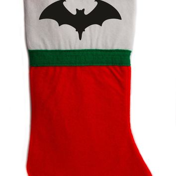 "Vampire Bat Christmas Holiday Stocking 16"" Red/White Felt Hanging Sock Santa Stuffer Merry Gothmas"