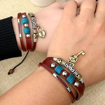 Couple Bracelets, Lock and Key Handmade Leather His Hers Jewelry, Anniversary Braclet Christmas Gift CP-369