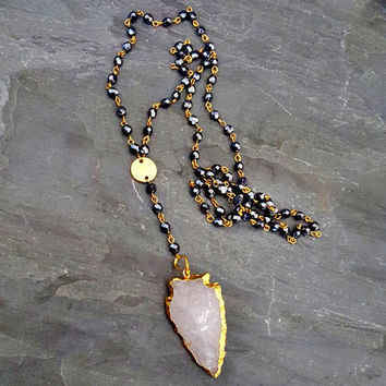 Long Beaded Arrowhead Necklace, Arrowhead Pendant, Long Black Beaded Necklace, Raw Crystal Quartz, Gold Edge, Black Rosary Style Necklace