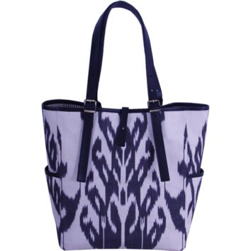 Ikat Tote Bag - Gorgeous Woman Bag with Black Color Ikat and Genuine Leather