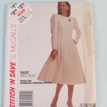 Vintage McCall's stitch n save sewing pattern 4449 for misses dress size 12-16 made 1989