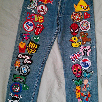 Patched Denim / Reworked Vintage Jeans with Patches / Patched Jeans 30 Waist