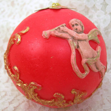 Red Wax Christmas Tree Ornament, Victorian Style, Hand Made in Western Germany, Baroque Putto / Cherub, Vintage Hand Painted Christmas Decor