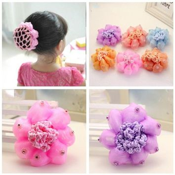 2017 New Sweet Baby Girl Dancing Updo Hair Net Snood Children New Hair Decoration Top Sell Dance ballet hair ornaments