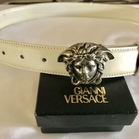 GENUINE - VERSACE - SCULPTED MEDUSA LEATHER BELT - SILVER/WHITE (32/80)