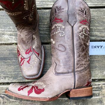 Corral Boots Floral Embroidery Square Toe Boots