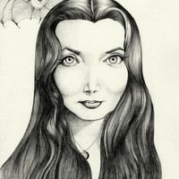 Morticia an Original Drawing,  Black and White 11X14