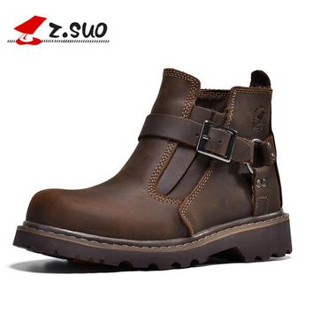 Z.SUO 2017 New Unisex Motorcycle Boots Men Genuine Leather Men's Ankle Boots High Quality Breathable Work Cowboy Boots Botas