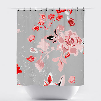 Gray Pink Shabby Chic Floral Shower Curtain