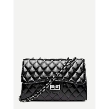 Black Twist Lock Detail Quilted Shoulder Bag