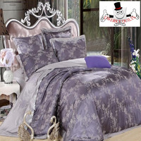 Dark Grey Purple Floral Luxurious Jacquard Embroidered Bedding Set and Quilt Cover