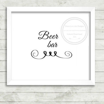 "Open Bar Sign, ""Beer Bar"" Sign, Bachelor Party Decor, Wedding Shower Sign, Wedding Decorations, Instant Download, Wedding Ceremony"