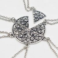 6pcs Pizza Pendant Necklaces Friendship Best Friends Forever Keepsake