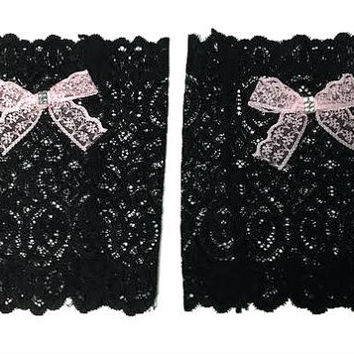 Black Floral Scalloped Stretch Lace Pink Bow Peek a Boo Boot Cuffs Lacey Boot Cuffs Boot Toppers