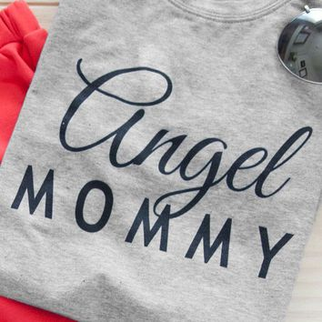 Angel Mommy O-Neck T-Shirt Summer Aesthetic Tee Tumblr Letter Printed Mama Tops Mommy Gift Harajuku Trendy Outfits Graphic Shirt