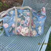 Nordic House Floral Tea Roses Tote Bag USA Vintage VL