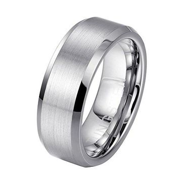 8mm Tungsten Carbide Unisex Matte Polished Finished Wedding Engagement Band Ring (Platinum)