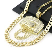 ICED OUT BIG BASKETBALL BACKBOARD ROPE CHAIN DIAMOND CUT CUBAN CHAIN NECKLACE G64